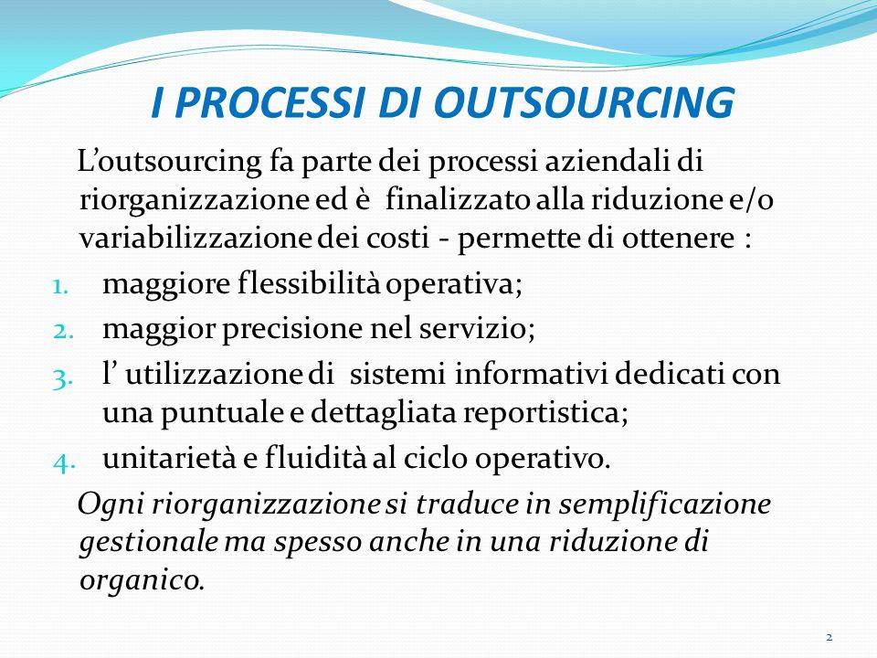 I PROCESSI DI OUTSOURCING L'outsourcing fa parte dei processi aziendali di riorganizzazione ed è finalizzato alla riduzione e/o variabilizzazione dei costi - permette di ottenere : 1.