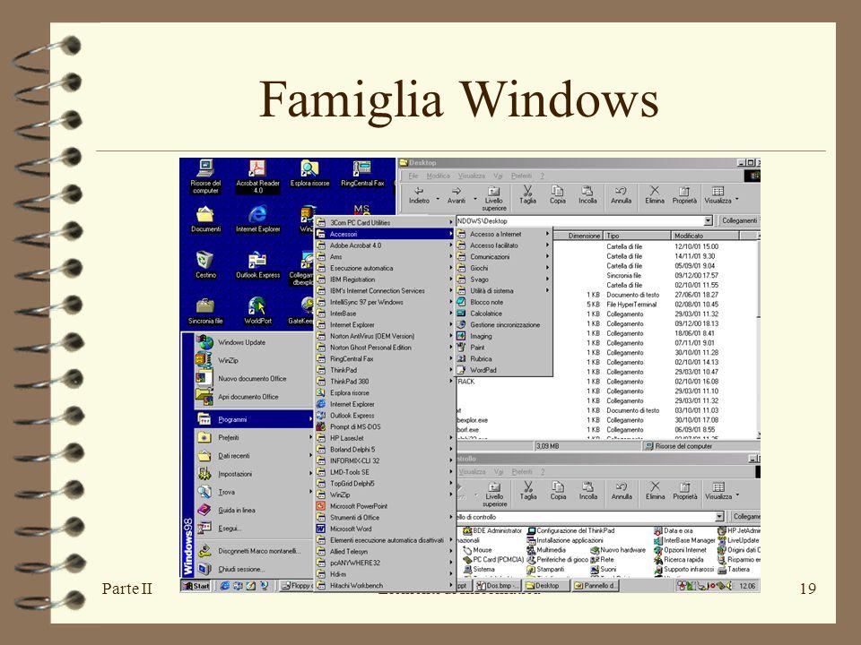 Parte IIElementi di Informatica19 Famiglia Windows
