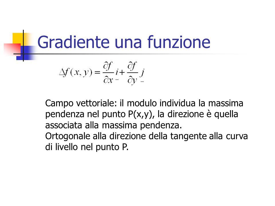 Gradiente una funzione Campo vettoriale: il modulo individua la massima pendenza nel punto P(x,y), la direzione è quella associata alla massima pendenza.