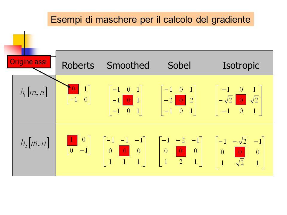 RobertsSmoothed SobelIsotropic Origine assi Esempi di maschere per il calcolo del gradiente