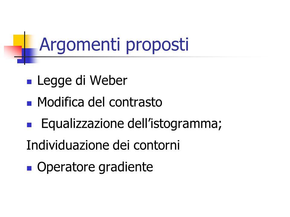 Argomenti proposti Legge di Weber Modifica del contrasto Equalizzazione dell'istogramma; Individuazione dei contorni Operatore gradiente