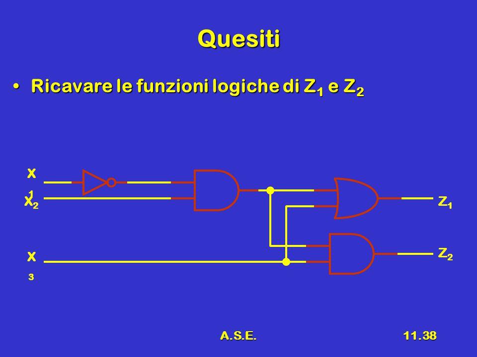 A.S.E.11.38 Quesiti Ricavare le funzioni logiche di Z 1 e Z 2Ricavare le funzioni logiche di Z 1 e Z 2 X2X2 X1X1 X3X3 Z1Z1 Z2Z2