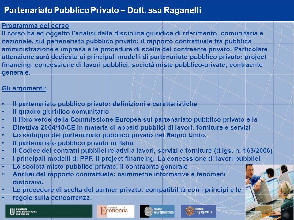 Partenariato Pubblico Privato – Dott.