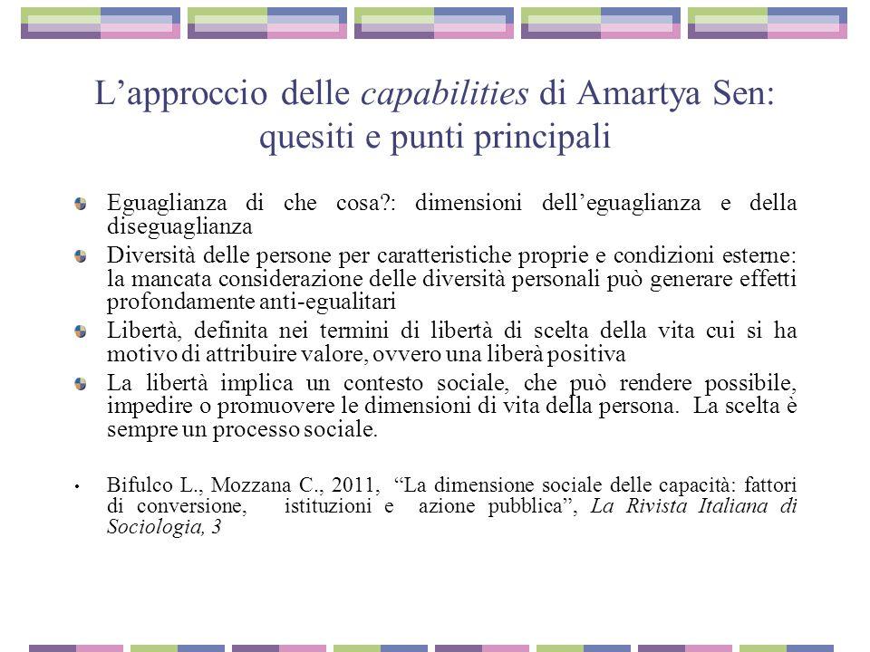 L'approccio delle capabilities di Amartya Sen: quesiti e punti principali Eguaglianza di che cosa?: dimensioni dell'eguaglianza e della diseguaglianza