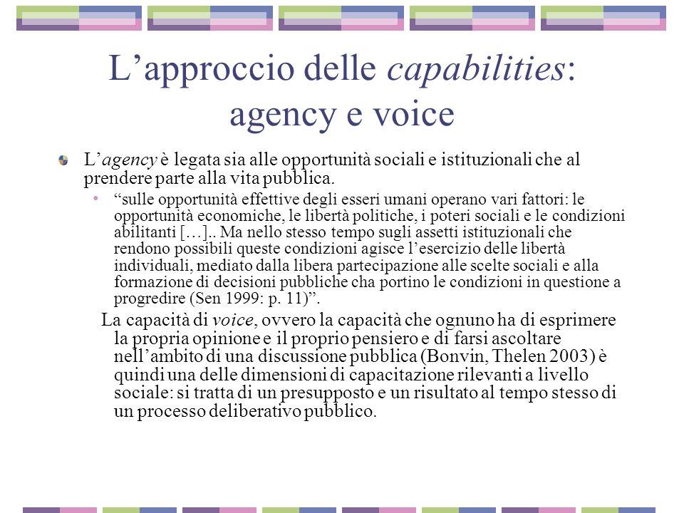 L'approccio delle capabilities: agency e voice L'agency è legata sia alle opportunità sociali e istituzionali che al prendere parte alla vita pubblica