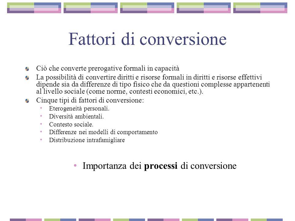 Fattori di conversione Ciò che converte prerogative formali in capacità La possibilità di convertire diritti e risorse formali in diritti e risorse ef