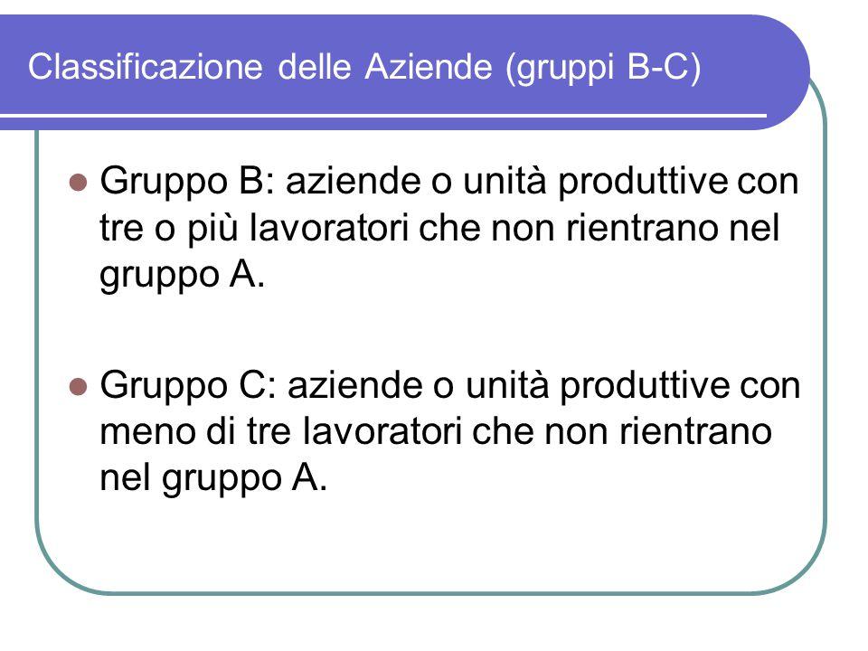Classificazione delle Aziende (gruppi B-C) Gruppo B: aziende o unità produttive con tre o più lavoratori che non rientrano nel gruppo A. Gruppo C: azi