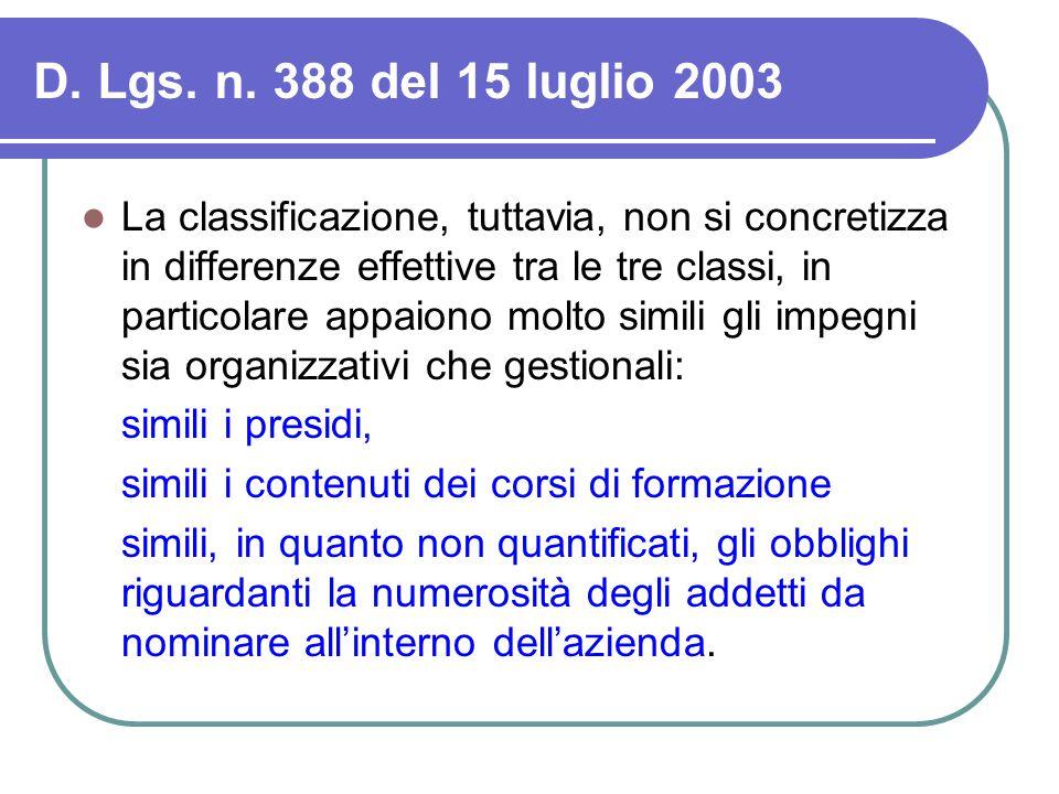 D. Lgs. n. 388 del 15 luglio 2003 La classificazione, tuttavia, non si concretizza in differenze effettive tra le tre classi, in particolare appaiono