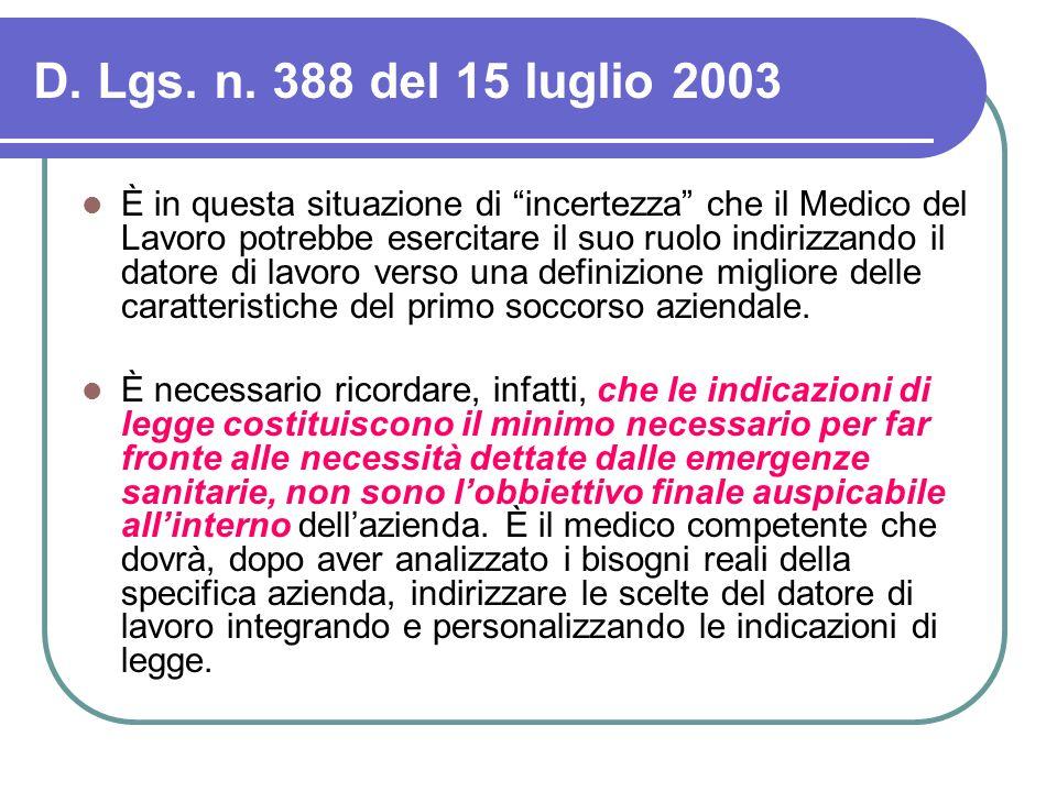 """D. Lgs. n. 388 del 15 luglio 2003 È in questa situazione di """"incertezza"""" che il Medico del Lavoro potrebbe esercitare il suo ruolo indirizzando il dat"""