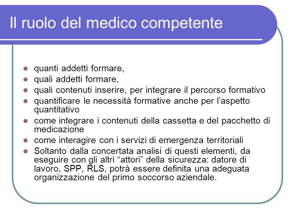 Il ruolo del medico competente quanti addetti formare, quali addetti formare, quali contenuti inserire, per integrare il percorso formativo quantifica