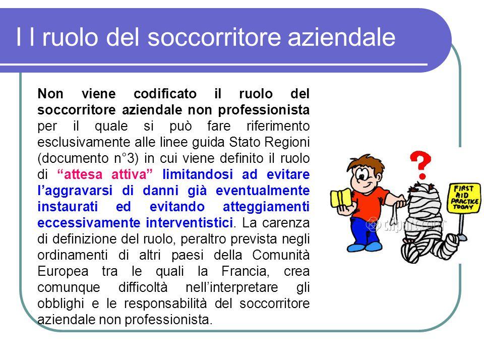 I l ruolo del soccorritore aziendale Non viene codificato il ruolo del soccorritore aziendale non professionista per il quale si può fare riferimento