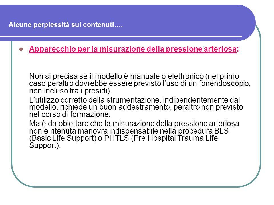 Alcune perplessità sui contenuti…. Apparecchio per la misurazione della pressione arteriosa: Non si precisa se il modello è manuale o elettronico (nel