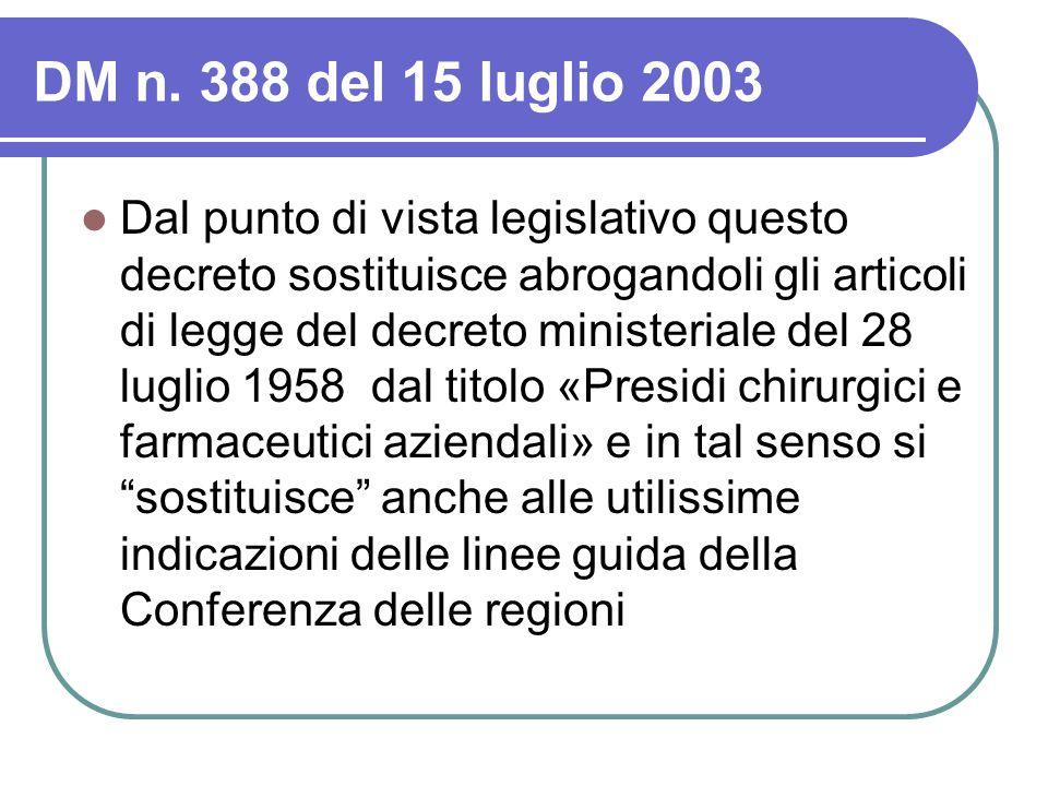 DM n. 388 del 15 luglio 2003 Dal punto di vista legislativo questo decreto sostituisce abrogandoli gli articoli di legge del decreto ministeriale del