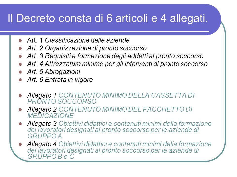 Il Decreto consta di 6 articoli e 4 allegati. Art. 1 Classificazione delle aziende Art. 2 Organizzazione di pronto soccorso Art. 3 Requisiti e formazi