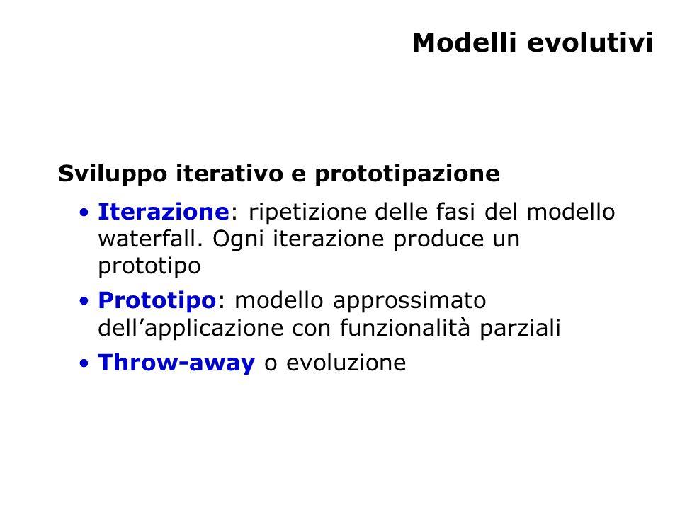 Modelli evolutivi Sviluppo iterativo e prototipazione Iterazione: ripetizione delle fasi del modello waterfall.