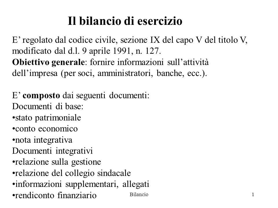 Bilancio1 Il bilancio di esercizio E' regolato dal codice civile, sezione IX del capo V del titolo V, modificato dal d.l.