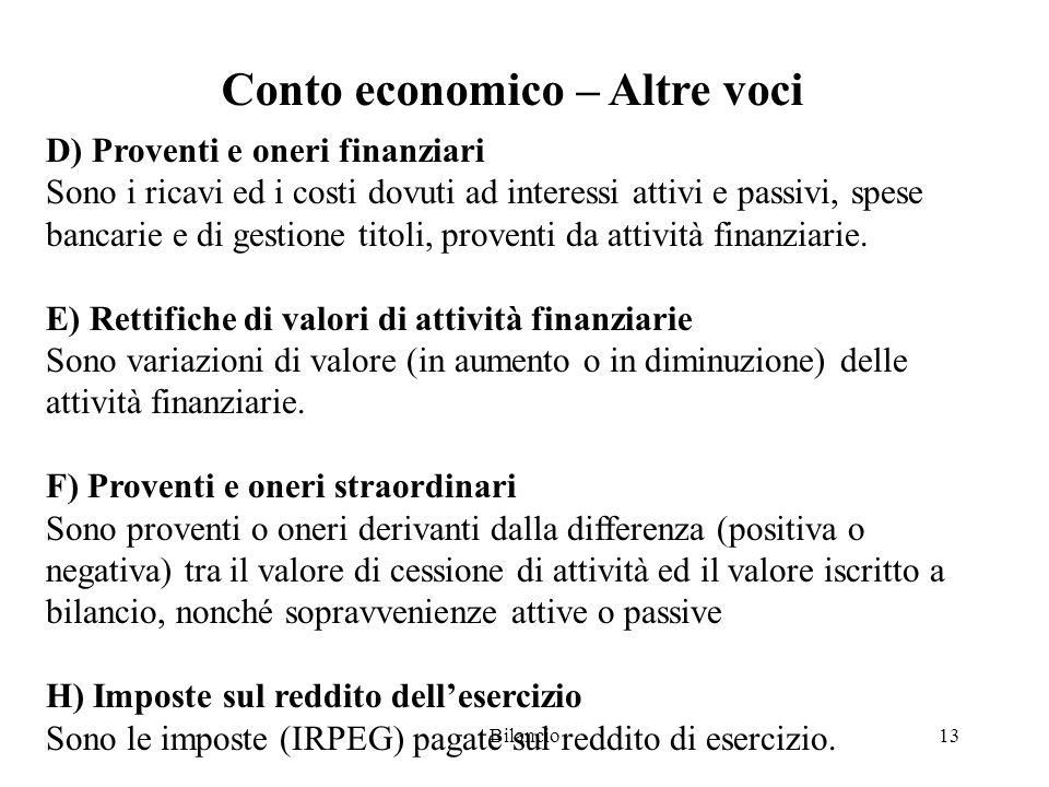 Bilancio13 Conto economico – Altre voci D) Proventi e oneri finanziari Sono i ricavi ed i costi dovuti ad interessi attivi e passivi, spese bancarie e di gestione titoli, proventi da attività finanziarie.