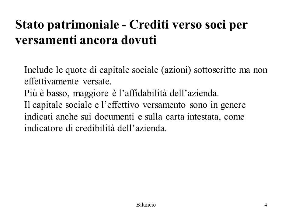 Bilancio4 Stato patrimoniale - Crediti verso soci per versamenti ancora dovuti Include le quote di capitale sociale (azioni) sottoscritte ma non effettivamente versate.