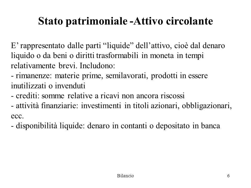 Bilancio6 Stato patrimoniale -Attivo circolante E' rappresentato dalle parti liquide dell'attivo, cioè dal denaro liquido o da beni o diritti trasformabili in moneta in tempi relativamente brevi.