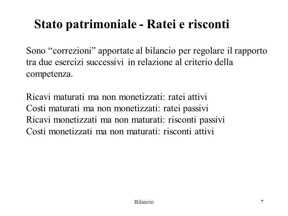 Bilancio7 Stato patrimoniale - Ratei e risconti Sono correzioni apportate al bilancio per regolare il rapporto tra due esercizi successivi in relazione al criterio della competenza.