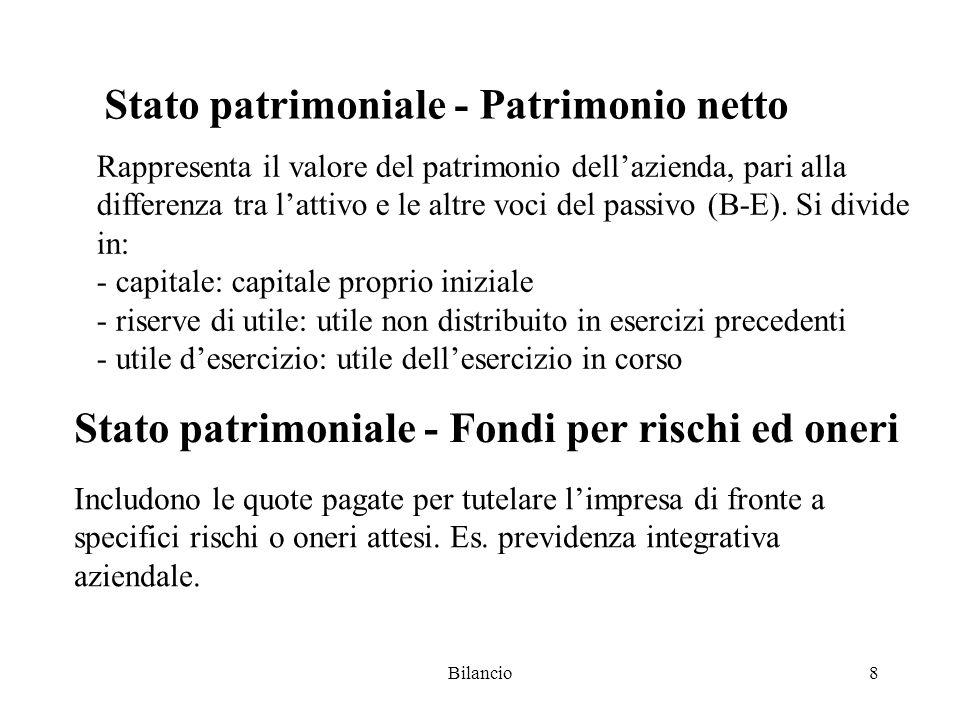 Bilancio8 Stato patrimoniale - Patrimonio netto Rappresenta il valore del patrimonio dell'azienda, pari alla differenza tra l'attivo e le altre voci del passivo (B-E).
