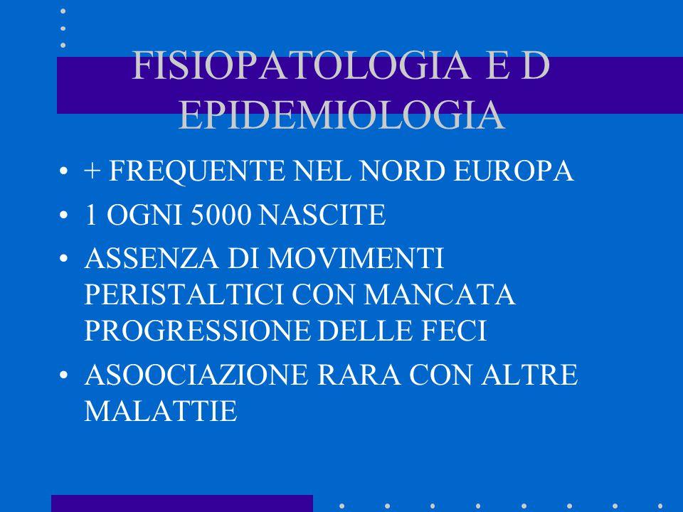 FISIOPATOLOGIA E D EPIDEMIOLOGIA + FREQUENTE NEL NORD EUROPA 1 OGNI 5000 NASCITE ASSENZA DI MOVIMENTI PERISTALTICI CON MANCATA PROGRESSIONE DELLE FECI