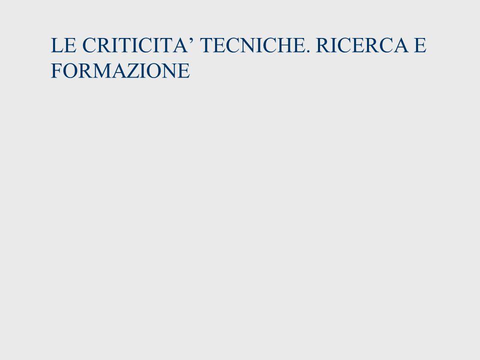 LE CRITICITA' TECNICHE. RICERCA E FORMAZIONE