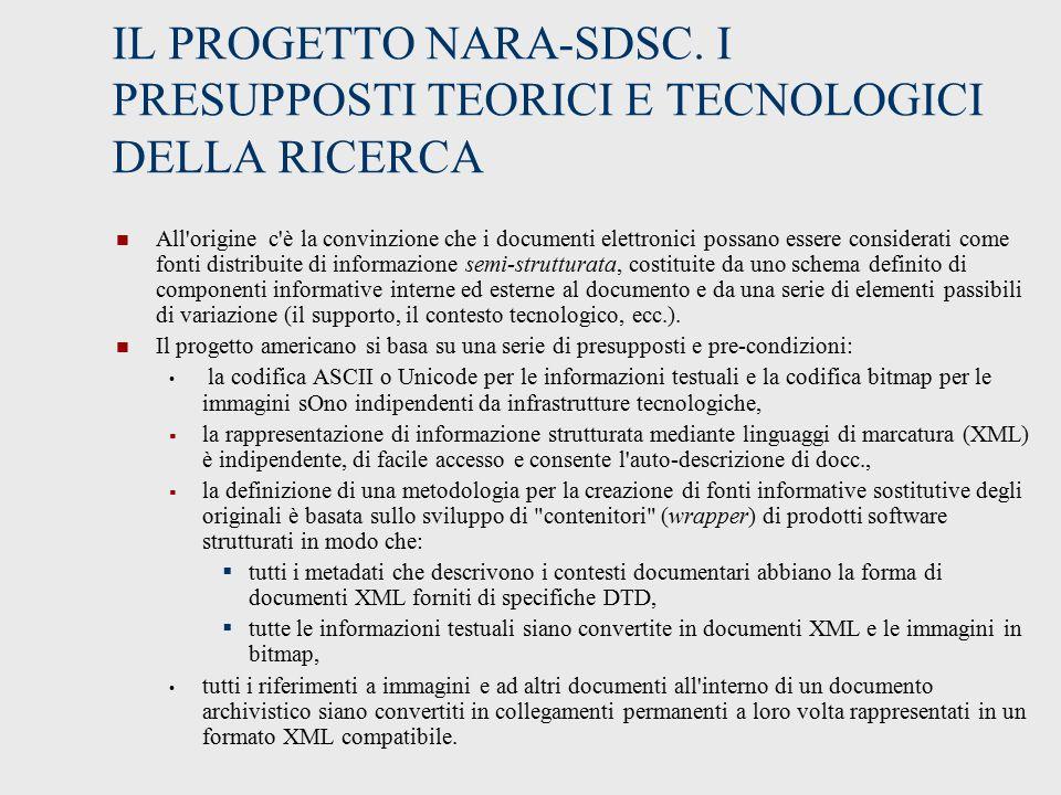 IL PROGETTO NARA-SDSC.