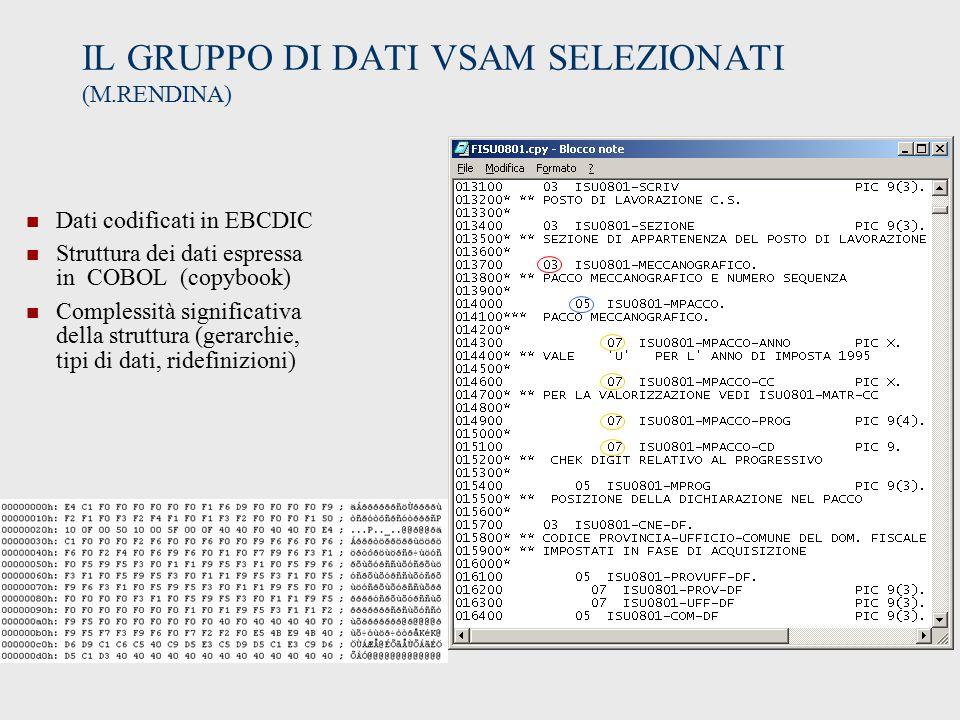 IL GRUPPO DI DATI VSAM SELEZIONATI (M.RENDINA) Dati codificati in EBCDIC Struttura dei dati espressa in COBOL (copybook) Complessità significativa della struttura (gerarchie, tipi di dati, ridefinizioni)