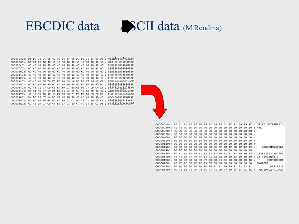 EBCDIC data ASCII data (M.Rendina)