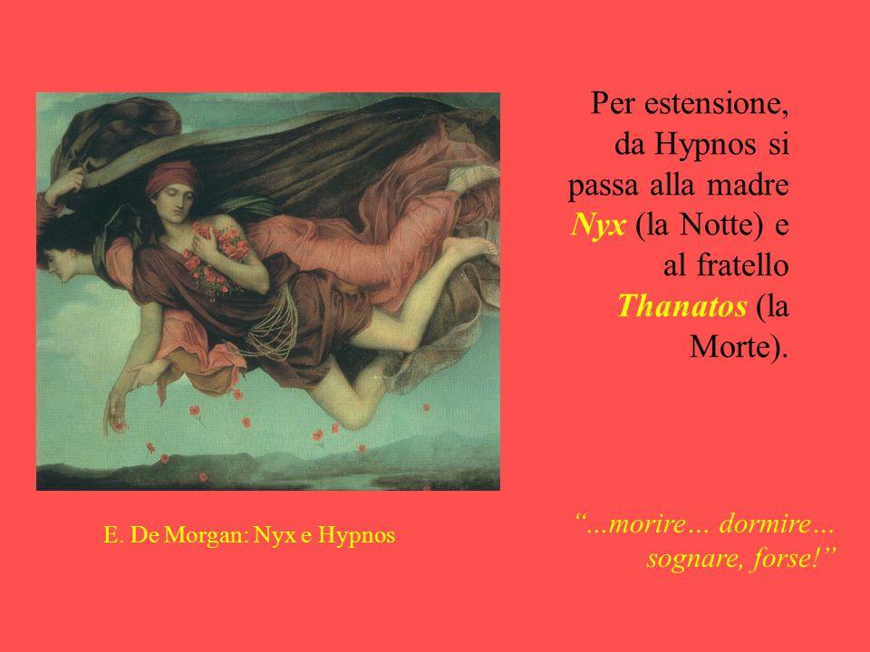 """Per estensione, da Hypnos si passa alla madre Nyx (la Notte) e al fratello Thanatos (la Morte). E. De Morgan: Nyx e Hypnos """"...morire… dormire… sognar"""