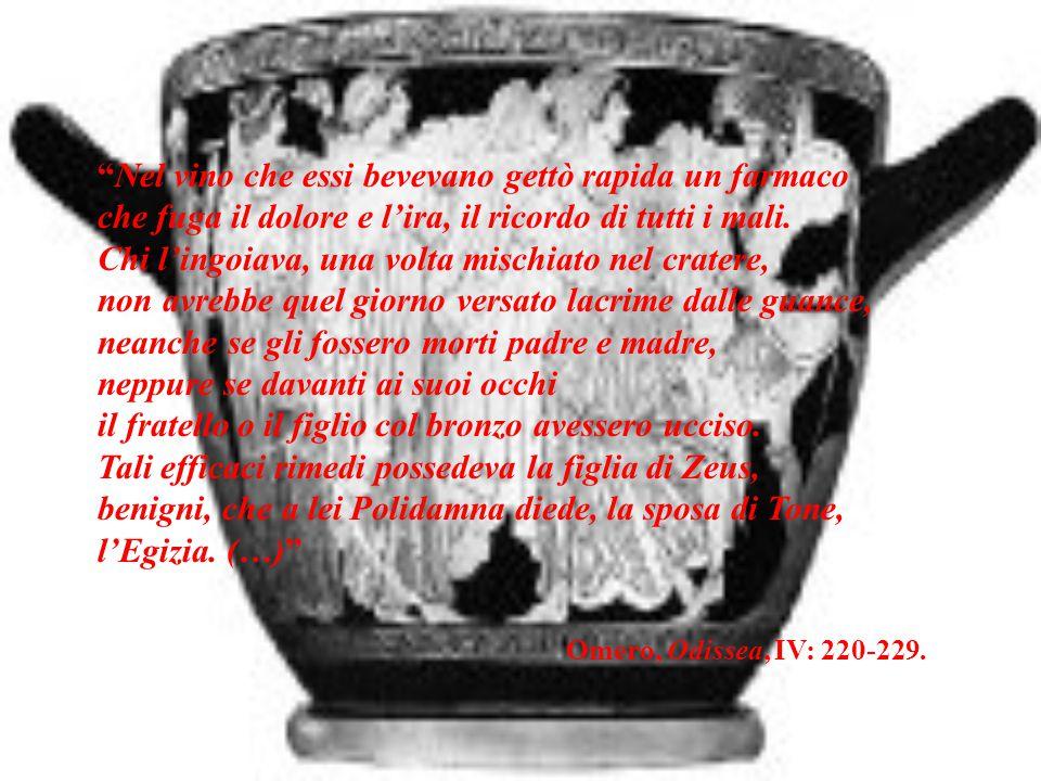 """""""Nel vino che essi bevevano gettò rapida un farmaco che fuga il dolore e l'ira, il ricordo di tutti i mali. Chi l'ingoiava, una volta mischiato nel cr"""