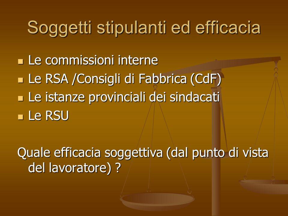 Soggetti stipulanti ed efficacia Le commissioni interne Le commissioni interne Le RSA /Consigli di Fabbrica (CdF) Le RSA /Consigli di Fabbrica (CdF) L
