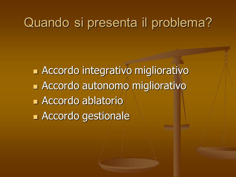 Quando si presenta il problema? Accordo integrativo migliorativo Accordo integrativo migliorativo Accordo autonomo migliorativo Accordo autonomo migli
