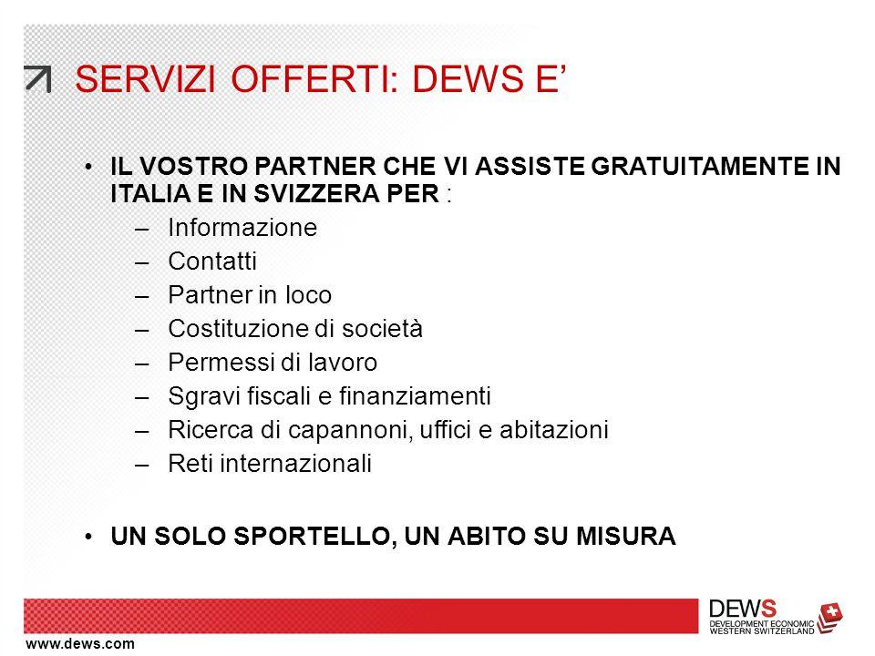 www.dews.com IL VOSTRO PARTNER CHE VI ASSISTE GRATUITAMENTE IN ITALIA E IN SVIZZERA PER : –Informazione –Contatti –Partner in loco –Costituzione di so