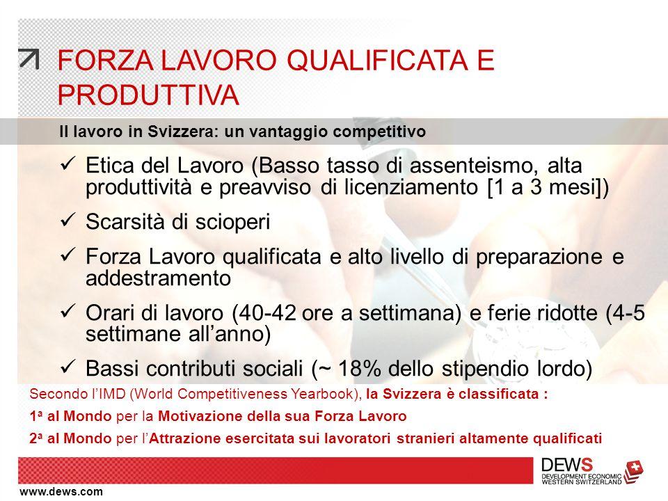 www.dews.com FORZA LAVORO QUALIFICATA E PRODUTTIVA Il lavoro in Svizzera: un vantaggio competitivo Secondo l'IMD (World Competitiveness Yearbook), la