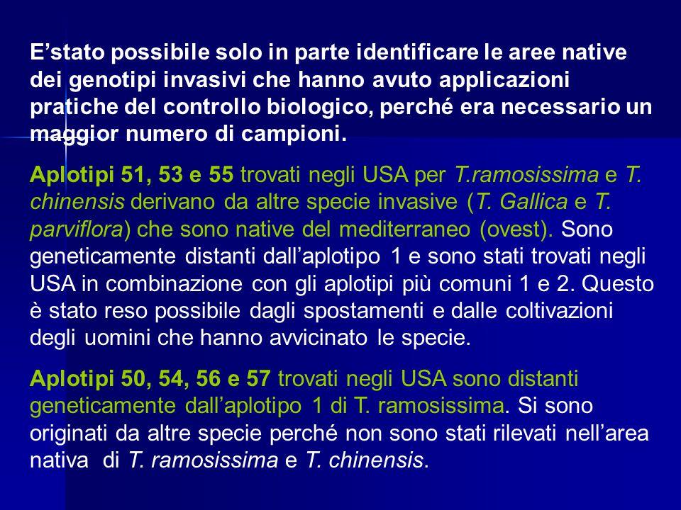 E'stato possibile solo in parte identificare le aree native dei genotipi invasivi che hanno avuto applicazioni pratiche del controllo biologico, perch