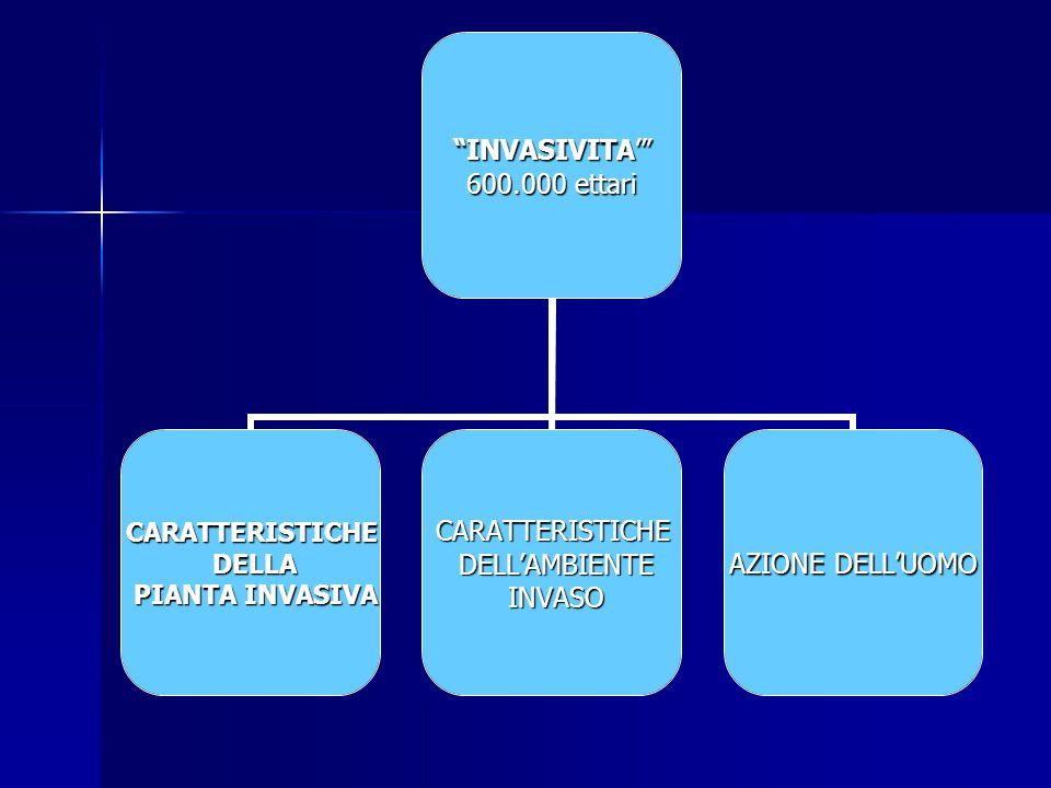 """""""INVASIVITA'"""" 600.000 ettari CARATTERISTICHE DELLA DELLA PIANTA INVASIVA PIANTA INVASIVACARATTERISTICHE DELL'AMBIENTE DELL'AMBIENTE INVASO INVASO AZIO"""