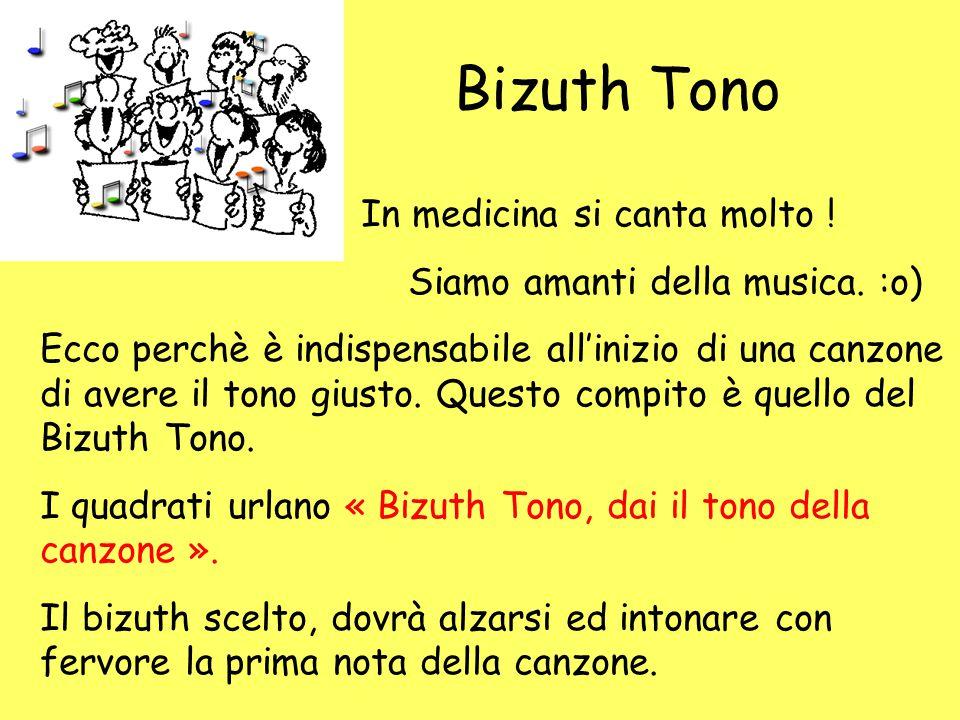Bizuth Tono In medicina si canta molto ! Siamo amanti della musica. :o) Ecco perchè è indispensabile all'inizio di una canzone di avere il tono giusto