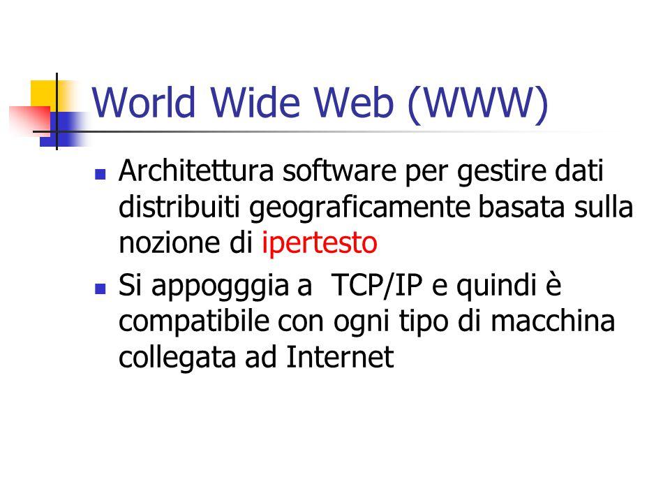 World Wide Web (WWW) Architettura software per gestire dati distribuiti geograficamente basata sulla nozione di ipertesto Si appogggia a TCP/IP e quindi è compatibile con ogni tipo di macchina collegata ad Internet