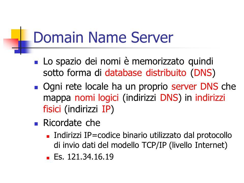 Domain Name Server Lo spazio dei nomi è memorizzato quindi sotto forma di database distribuito (DNS) Ogni rete locale ha un proprio server DNS che mappa nomi logici (indirizzi DNS) in indirizzi fisici (indirizzi IP) Ricordate che Indirizzi IP=codice binario utilizzato dal protocollo di invio dati del modello TCP/IP (livello Internet) Es.