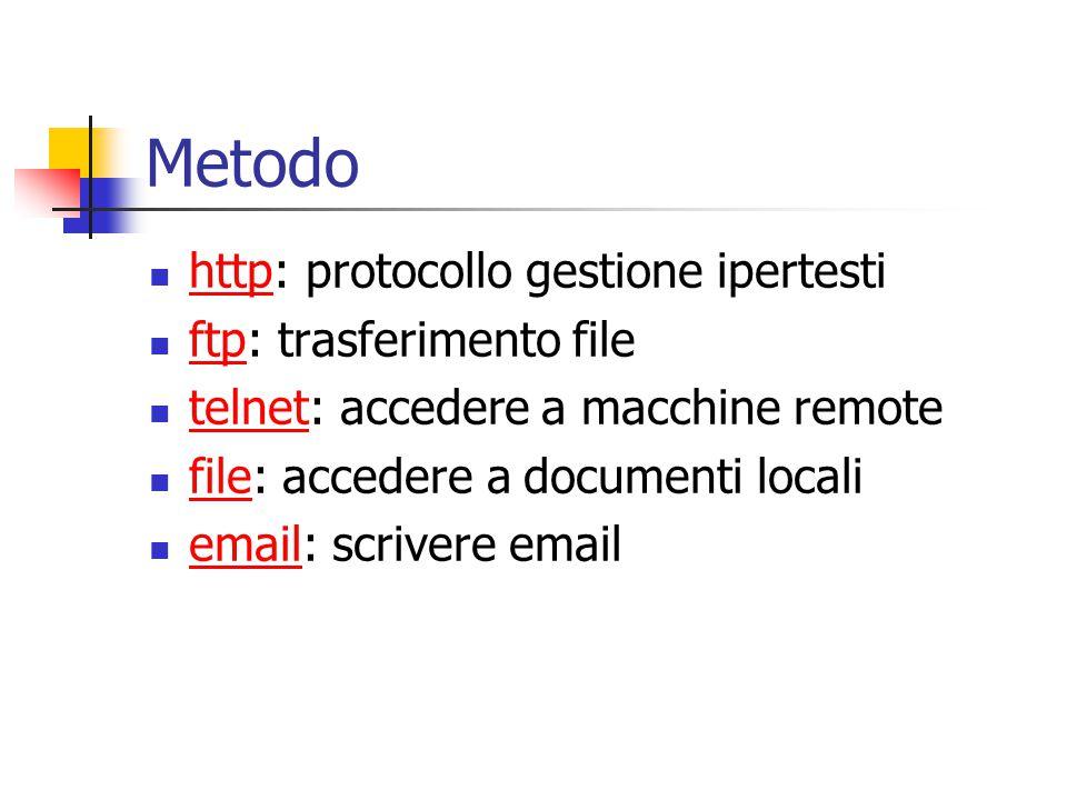 Metodo http: protocollo gestione ipertesti http ftp: trasferimento file ftp telnet: accedere a macchine remote telnet file: accedere a documenti locali file email: scrivere email email