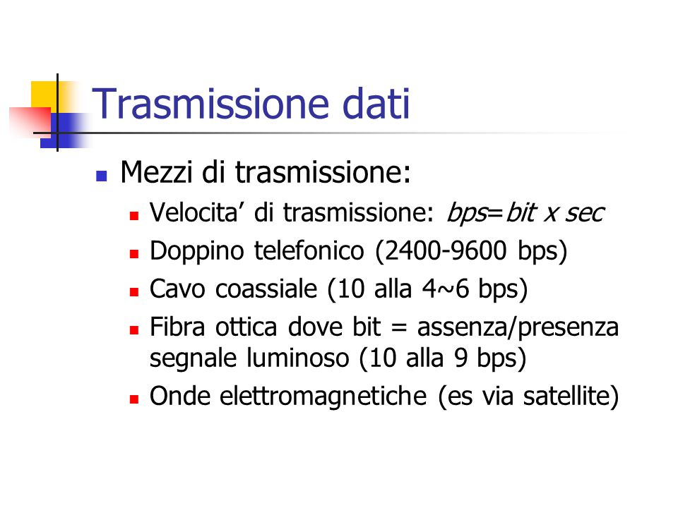 Trasmissione dati Mezzi di trasmissione: Velocita' di trasmissione: bps=bit x sec Doppino telefonico (2400-9600 bps) Cavo coassiale (10 alla 4~6 bps) Fibra ottica dove bit = assenza/presenza segnale luminoso (10 alla 9 bps) Onde elettromagnetiche (es via satellite)