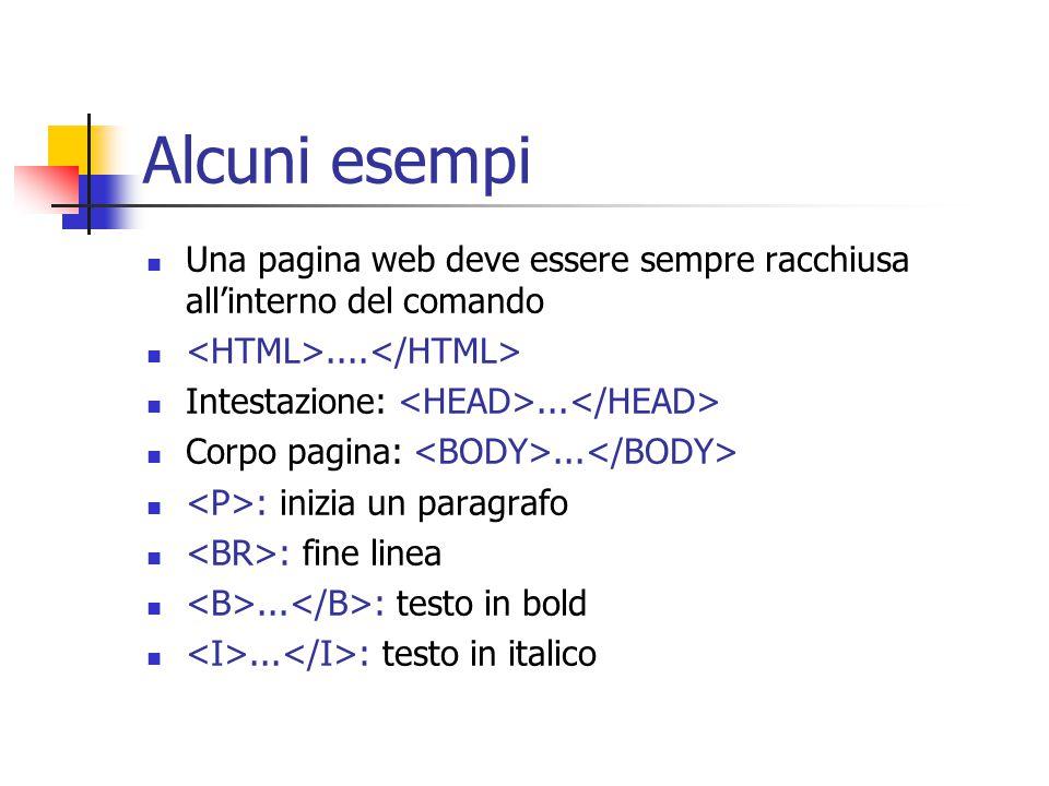 Alcuni esempi Una pagina web deve essere sempre racchiusa all'interno del comando....