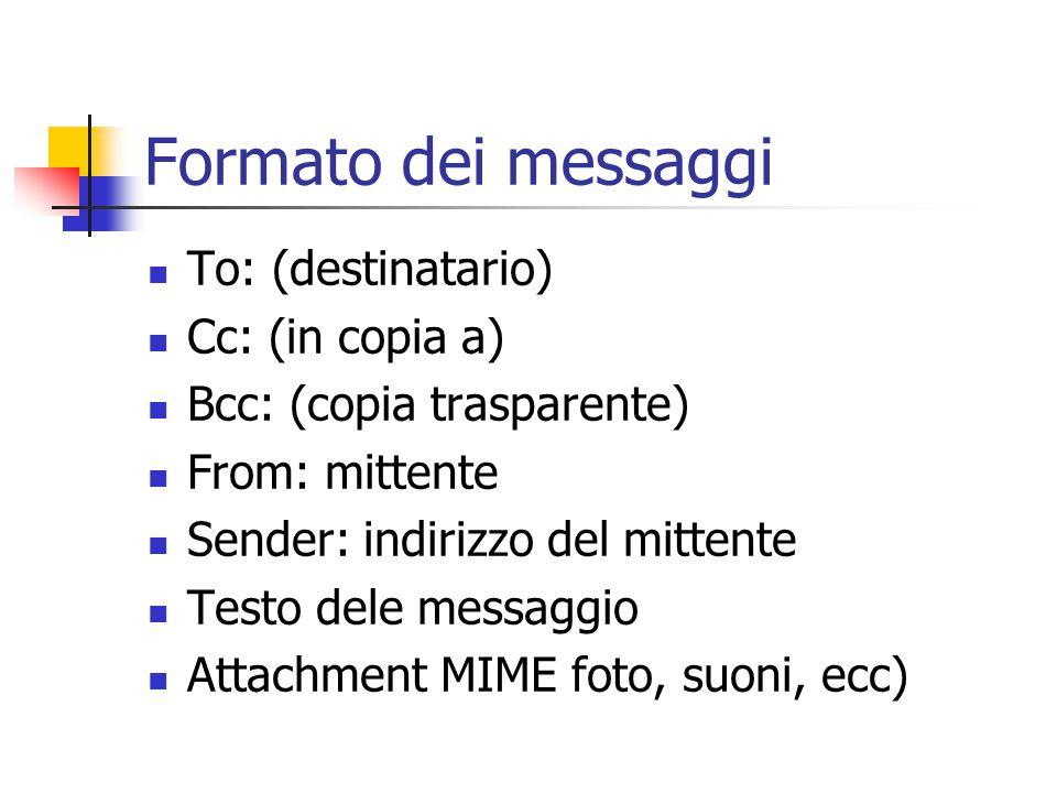 Formato dei messaggi To: (destinatario) Cc: (in copia a) Bcc: (copia trasparente) From: mittente Sender: indirizzo del mittente Testo dele messaggio Attachment MIME foto, suoni, ecc)