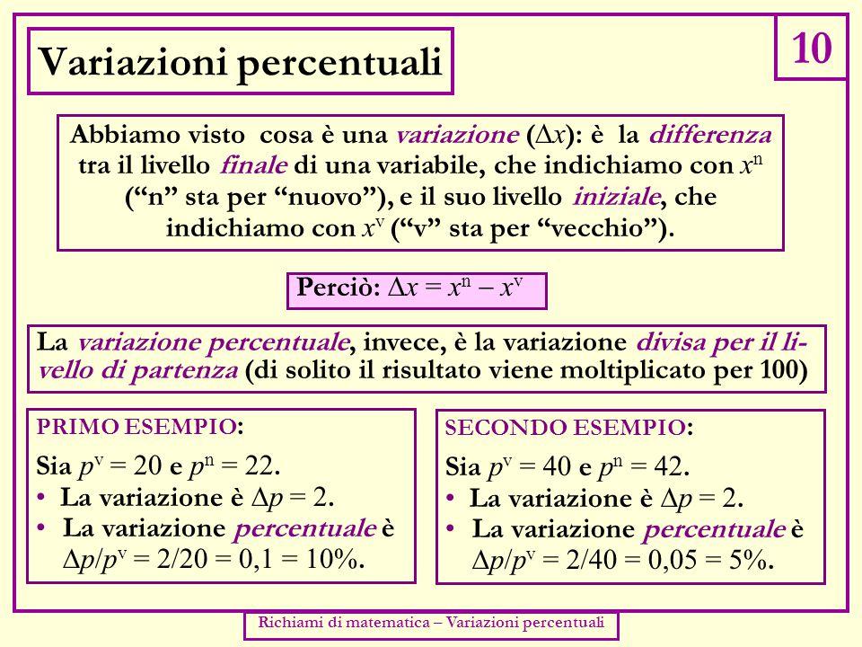10 Richiami di matematica – Variazioni percentuali Variazioni percentuali Abbiamo visto cosa è una variazione (  x ): è la differenza tra il livello finale di una variabile, che indichiamo con x n ( n sta per nuovo ), e il suo livello iniziale, che indichiamo con x v ( v sta per vecchio ).
