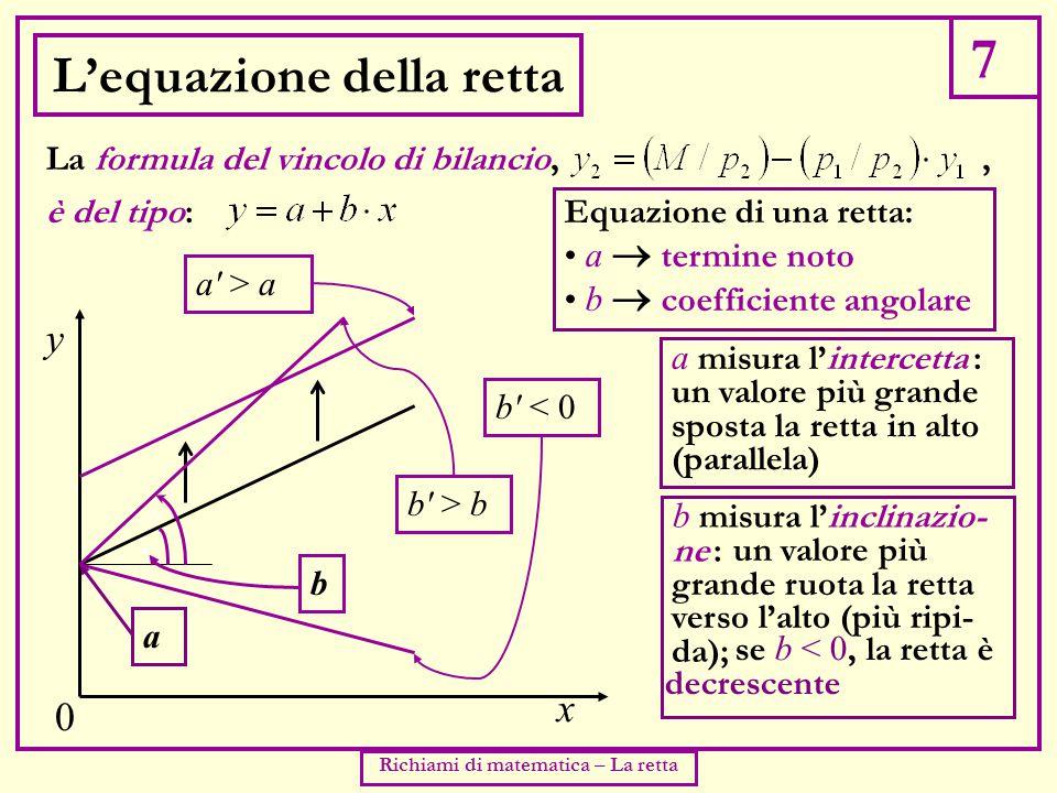 7 Richiami di matematica – La retta L'equazione della retta è del tipo: La formula del vincolo di bilancio,, y x 0 Equazione di una retta: a  termine noto b  coefficiente angolare a a misura l'intercetta : b misura l'inclinazio- ne : b > b b < 0 b a > a un valore più grande sposta la retta in alto (parallela) un valore più grande ruota la retta verso l'alto (più ripi- da); se b < 0, la retta è decrescente
