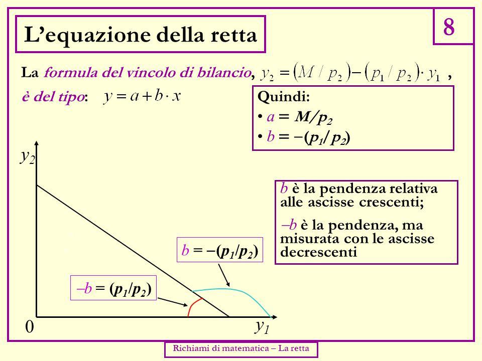 8 Richiami di matematica – La retta L'equazione della retta è del tipo: La formula del vincolo di bilancio,, y2y2 0 Quindi: a  M/p 2 b   (p 1 /p 2 ) b è la pendenza relativa alle ascisse crescenti;  b è la pendenza, ma misurata con le ascisse decrescenti y1y1 b =  (p 1 /p 2 )  b = (p 1 /p 2 )