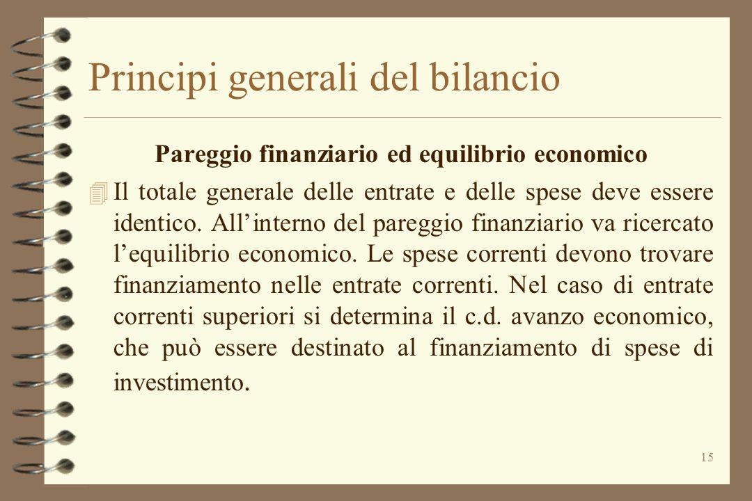 15 Principi generali del bilancio Pareggio finanziario ed equilibrio economico 4 Il totale generale delle entrate e delle spese deve essere identico.