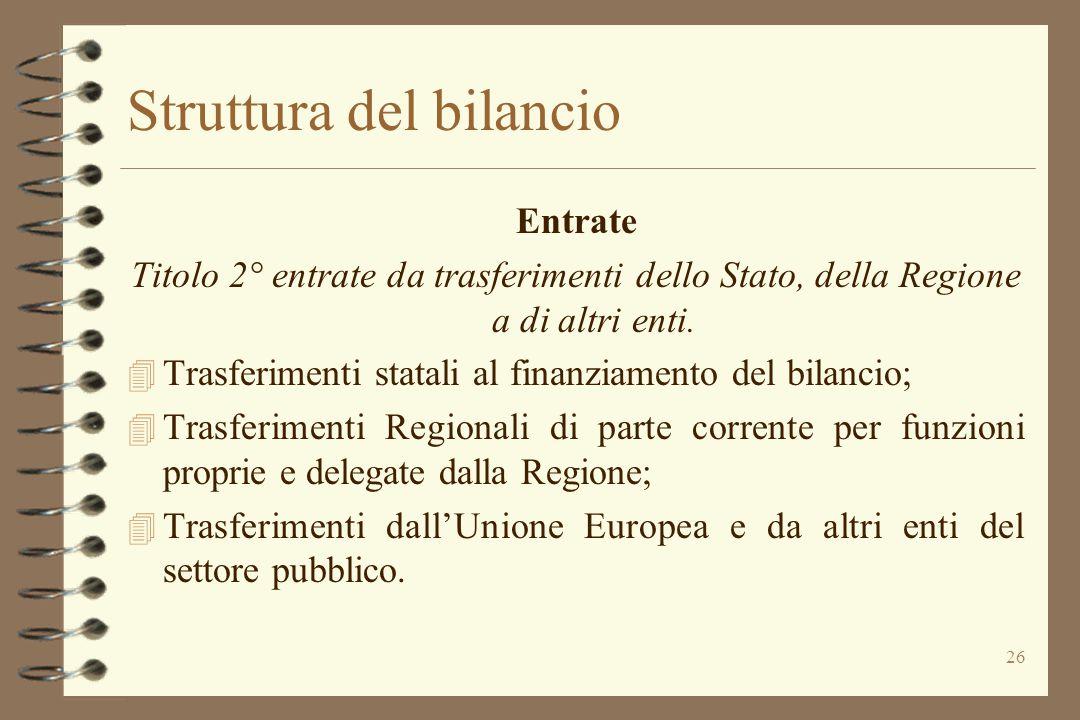 26 Struttura del bilancio Entrate Titolo 2° entrate da trasferimenti dello Stato, della Regione a di altri enti. 4 Trasferimenti statali al finanziame